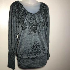 Large AMERICAN RAG Gray Black Lace Sweater Tunic